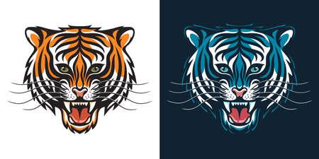 Roaring tiger head stylized as an emblem or logo
