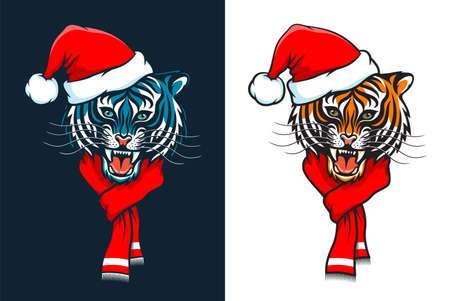 New Year tiger in santa claus hat and with red scarf.