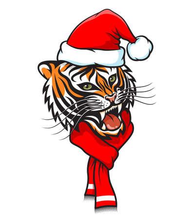 Tiger in santa claus hat. New Year tigress Иллюстрация