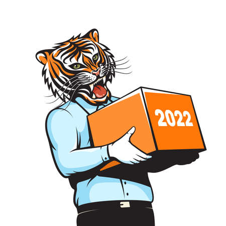 Man with tiger head with gift box