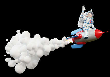 3d Astronaut in spacesuit riding on rocket that releases flames and smoke