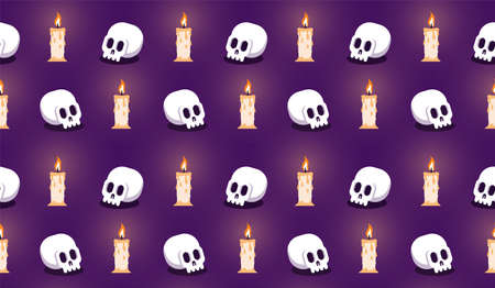Skull with candle seamless halloween pattern Иллюстрация