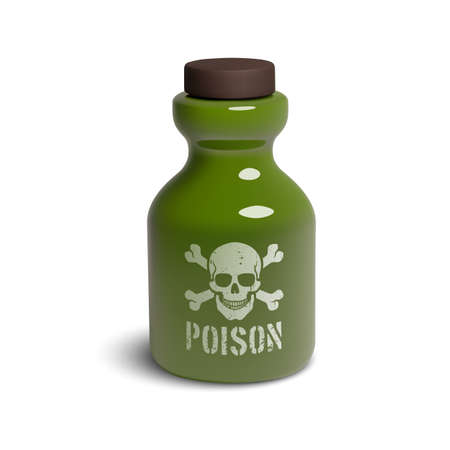 Realistic 3D glass bottle with skull and bones. Иллюстрация
