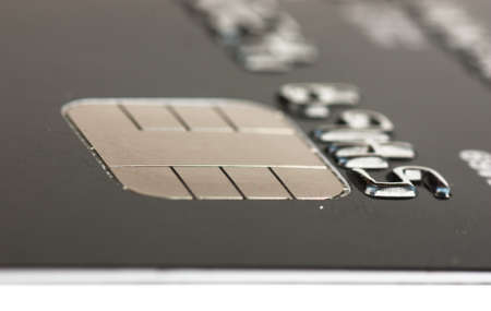 Macro view of credit card with microchip. Narrow focus. photo