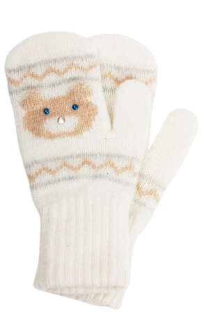 Little baby mittens on white background photo