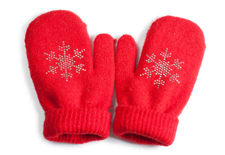 Red little baby mittensgloves isolated on white background