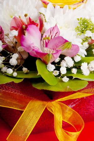 Closeup view of wedding bouquet photo