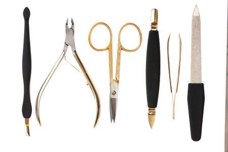 A set of metallic manicure tools. photo