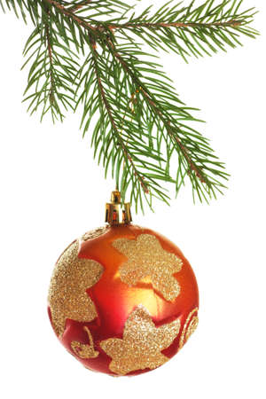 Christmas ball on fir branch isolated over white background