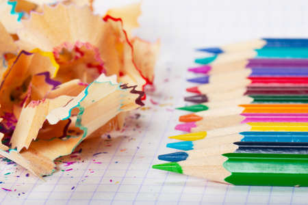 Macro view of colorful pencils and peels photo