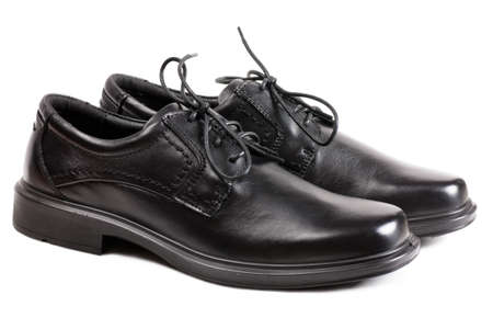 Men black shoes with black laces photo