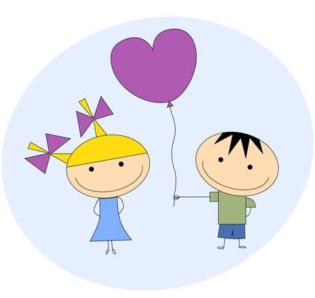 Boy and girl with heart-shaped balloon Vector