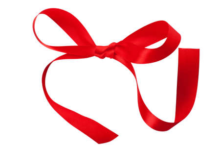 Closeup view of single red ribbon bow isolated over white background