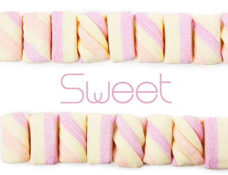 Two rows of colorful marshmallows with sample text Stock Photo