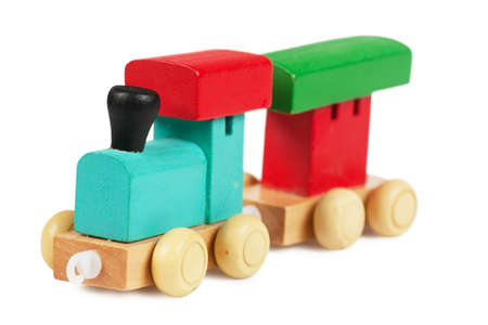 clr: Little wooden toy train isolated over white background