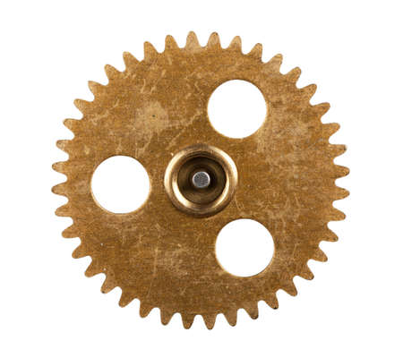Macro view of gear isolated over white background photo