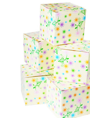 favours: A pile of gift boxes isolated over white background Stock Photo
