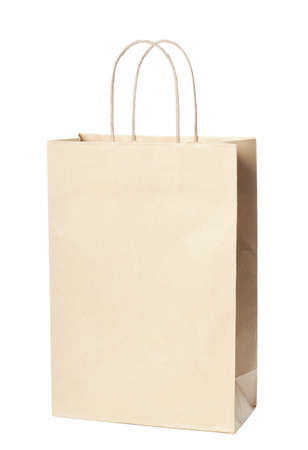 Single paper bag isolated over white background photo