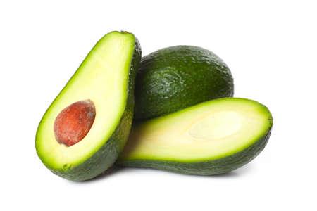 Fresh avocado fruit isolated over white background