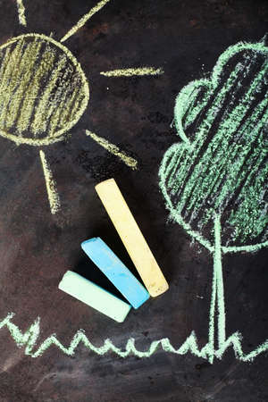 chalks: Sun and tree drawing and chalks on a blackboard Stock Photo