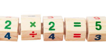 Child toy blocks with incorrect equation Stock Photo - 13207356