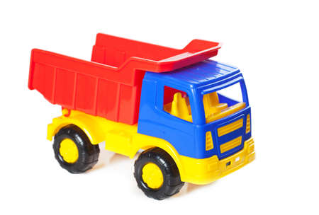 Colorful toy truck isolated over white background photo