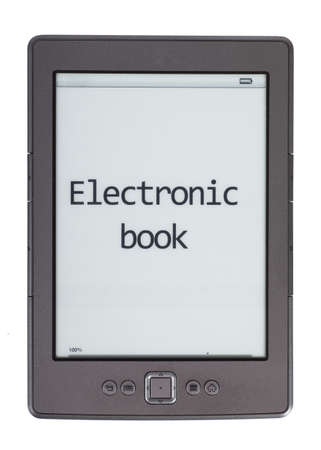 e ink: Electronic book reader isolated over white background