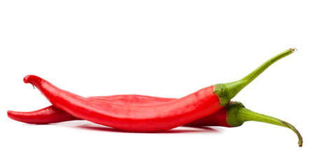 Closeup view of two red chili peppers isolated over white background Standard-Bild
