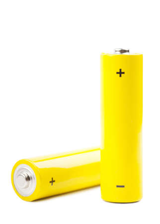 Two yellow batteries isolated over white background Stock Photo - 15081075