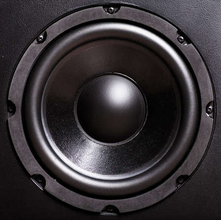 audio speaker: Closeup view of black bass speaker Stock Photo