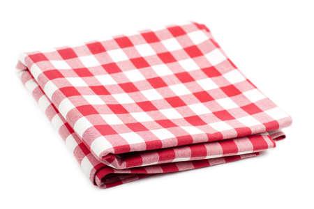 Geprüft mit roten und weißen Tischtuch auf weißem Hintergrund isoliert