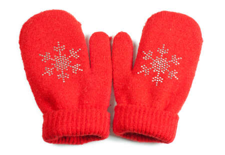 Red little baby mittens gloves isolated on white background
