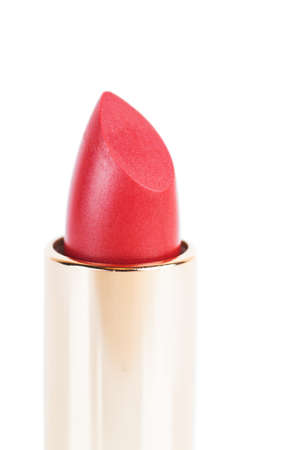 Red lipstick isolated over white background photo