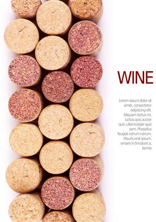 Closeup top view of wine corks over white background Stock Photo