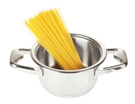 Bunch of spaghetti in a pot isolated over white background Standard-Bild