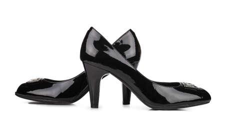 Elegant black woman shoes isolated over white background Stock Photo - 17899043