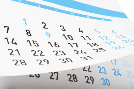 Closeup view of pages of tear-off calendar Stock Photo