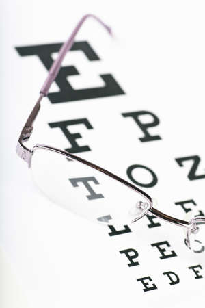 Closeup view of eyeglasses on a eye chart Standard-Bild