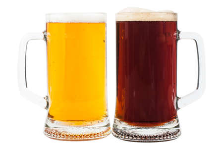 Light and brown beer in two glasses isolated over white background photo