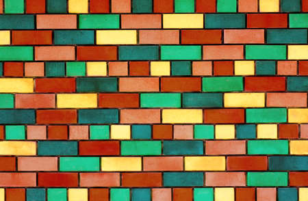 The facade view of colorful brick wall for design background Stock Photo - 18678776