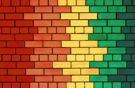 The facade view of colorful brick wall for design background photo