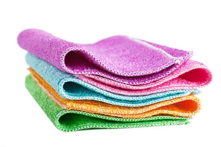 Closeup view of pile of colorful cleaning rags