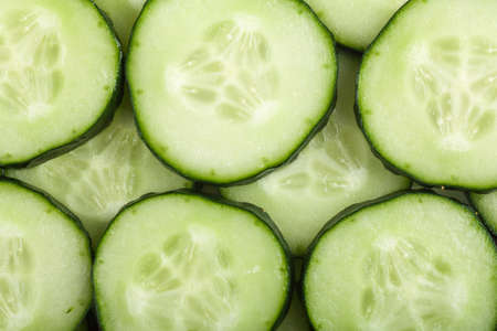 Macro view of cucumber slices photo
