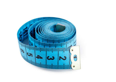 tapeline: Closeup view of blue measuring tape isolated over white background Stock Photo