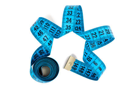 cm: Closeup view of blue measuring tape isolated over white background Stock Photo