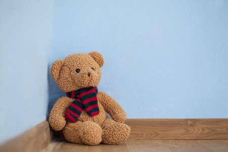 roosevelt: Single teddy bear on a floor in a child room