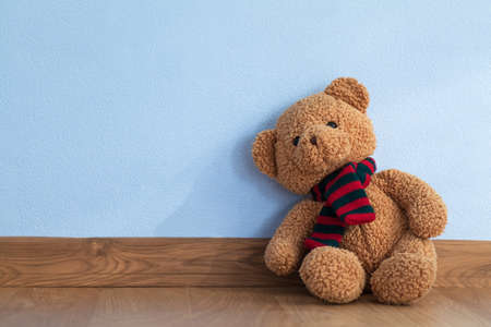 small group of objects: Single teddy bear on a floor in a child room