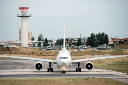 turbine of big passenger plane that waiting for departure in airport  Stock Photo - 12159670