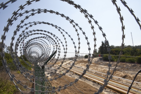 barb wire: berbed wire fence interior
