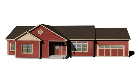 ranch house: Ranch House - Red Stock Photo